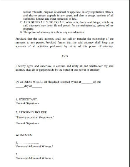 General Power of attorney format for NRI part 2/2 by Law Advisor India