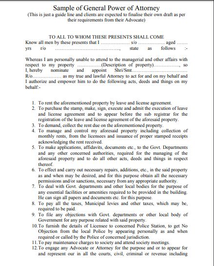 General Power of attorney format for NRI part 1/2 by Law Advisor India