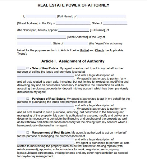 General Power of Attorney format for rent of property in India from USA 1/5 by Law Advisor India