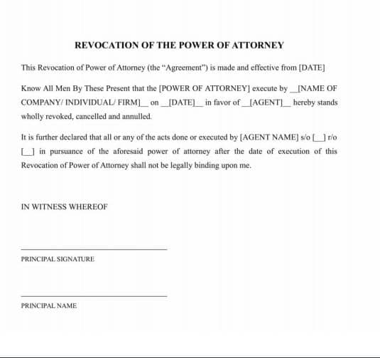 Revoke or Change of Power of Attorney sample format by Law Advisor India